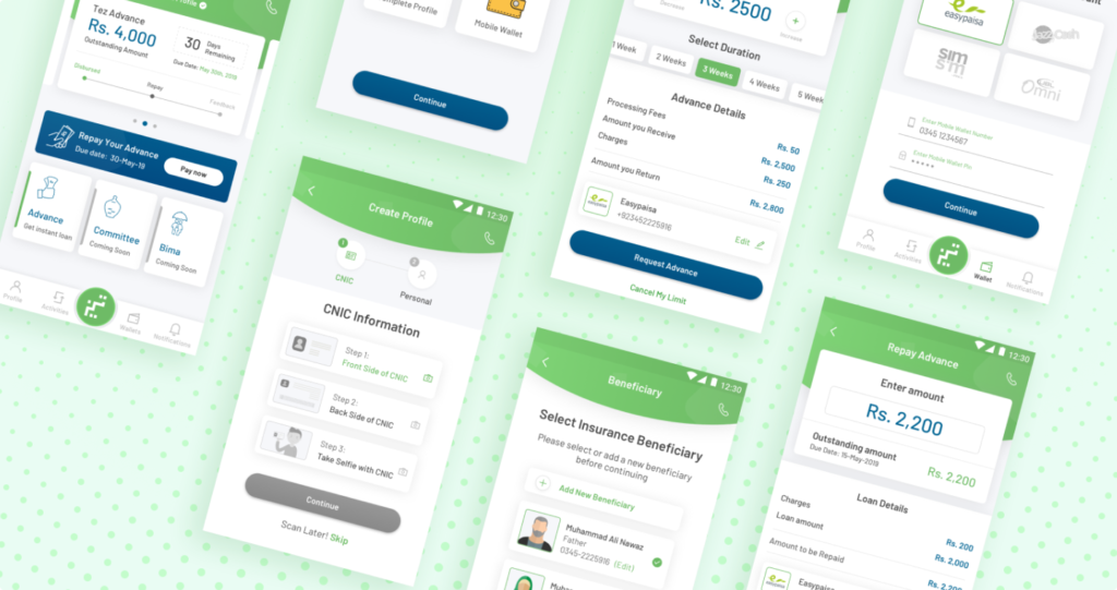 Mockups of Tez Financial Services app
