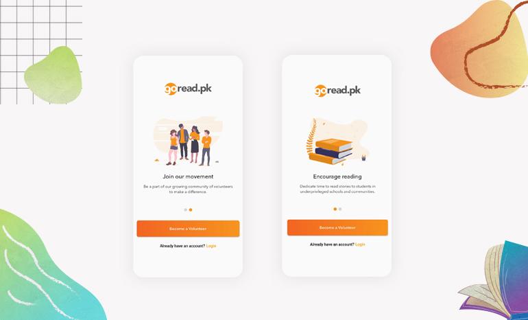 GoRead.pk mobile app design by VentureDive